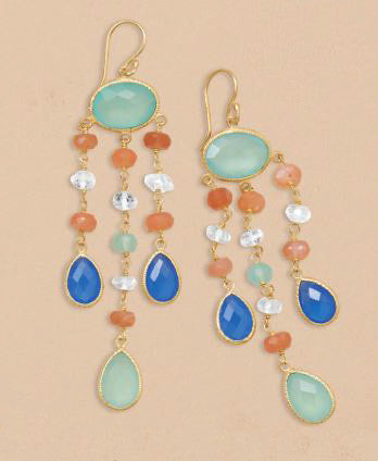 14K Gold Over Sterling Multistone Chandelier Earrings
