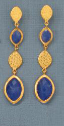 14K Gold Over Sterling Sapphire Drop Earrings
