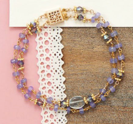 "14K Gold over Sterling Tanzanite and Citrine Bead 7"" Bracelet"