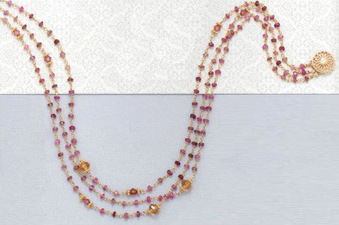 14K Gold over Sterling Triple Strand Pink Tourmaline Necklace