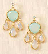 14K  Gold Over Sterling Chalcedony and Topaz Drop Earrings