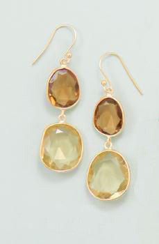 14K Gold Over Sterling Yellow Quartz Drop Earrings