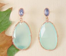 14K Rose Gold Over Sterling Chalcedony Drop Earrings