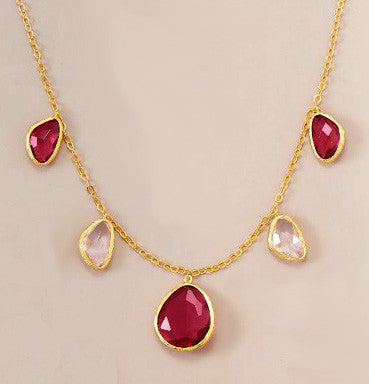 14K Gold over Sterling Red and Clear Glass Necklace