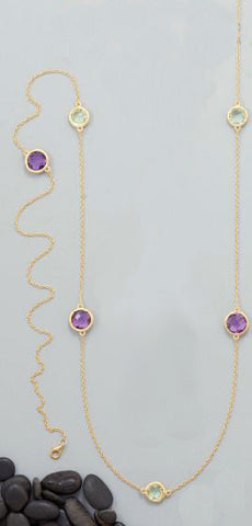 "42"" 18K Gold Over Sterling Double Amethyst Necklace"