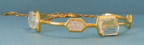 18K Gold Over Sterling Glass and CZ Bangle Bracelet