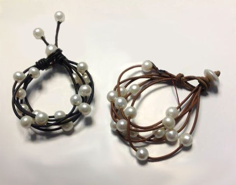 5 Strand Leather & White Pearl Bracelet