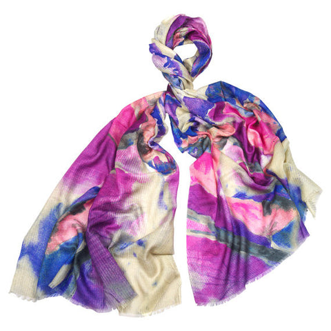 Cashmere, Silk & Wool Purple Floral Scarf