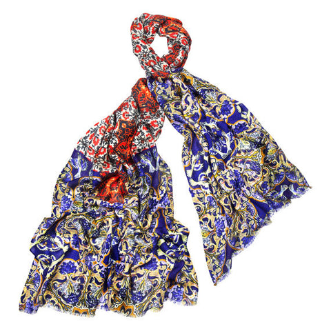 Cashmere, Silk & Wool Scarf in Turkish Tiles