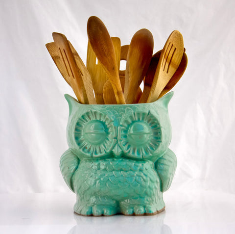 Ceramic Owl Planter or Utensil Holder