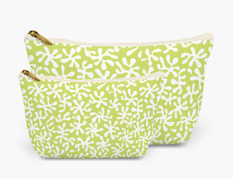 Set of Two Accessory Bag Pouches in Green Coral