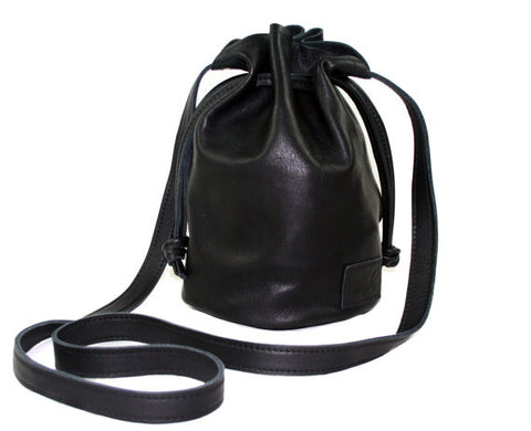 Handmade Leather Crossbody Small Ditty Bag in Black