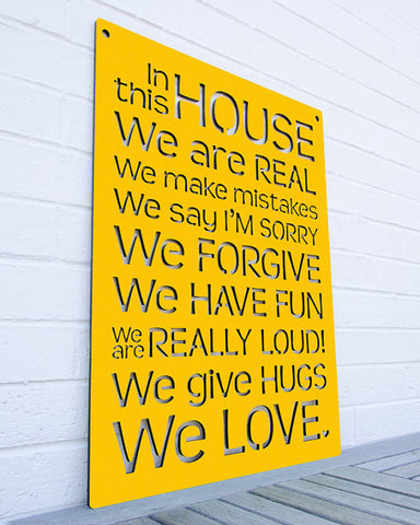In This House Laser Cut Wooden Sign