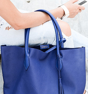 Handmade Italian Leather Tote & Pouch Set in Blue