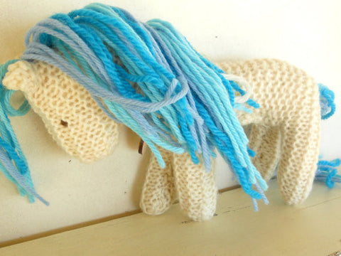 Hand Knit Children's Waldorf Stuffed Pony in Ocean Blues