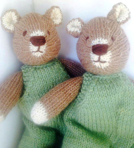 Hand Knit Children's Stuffed Teddy Bear in Green Overalls