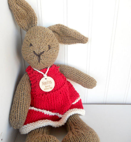 Hand Knit Children's Stuffed Natural Brown Bunny in Red Dress