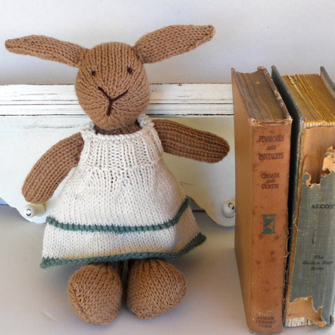 Hand Knit Children's Stuffed Brown Bunny in a White Dress