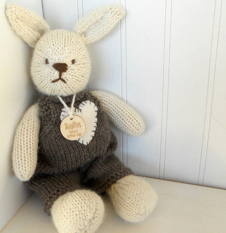 Hand Knit Children's Stuffed Cream Bunny in Brown Overalls with Heart