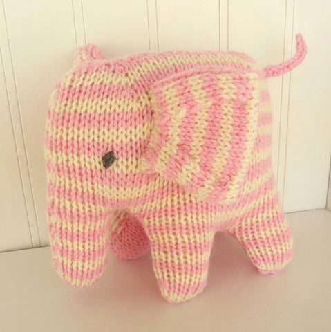Hand Knit Children's Stuffed Pink Striped Elephant