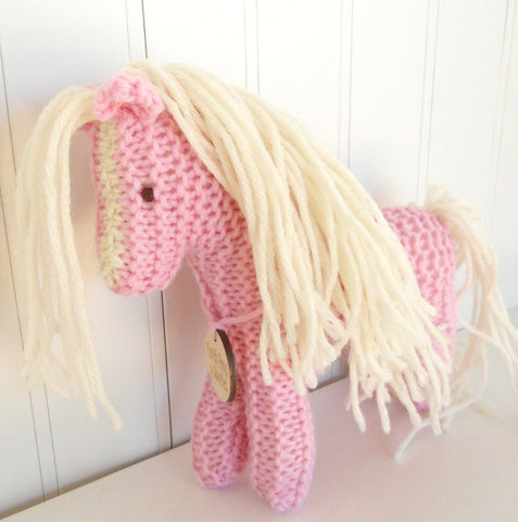Hand Knit Children's Waldorf Stuffed Pony in Pink and Cream