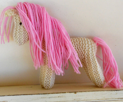 Hand Knit Children's Waldorf Stuffed Pony in Cream and Pink