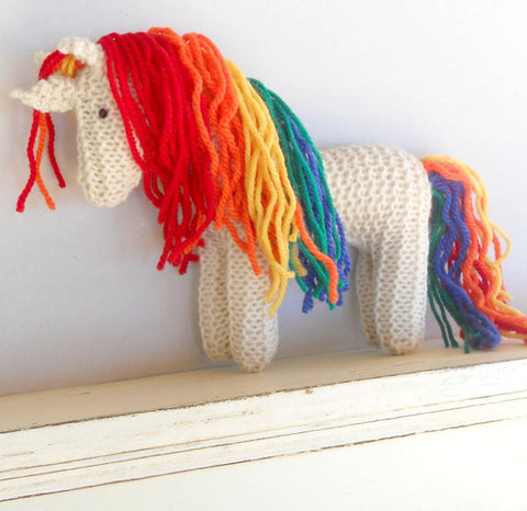 Hand Knit Children's Rainbow Unicorn Stuffed Pony