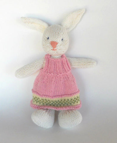 Hand Knit Children's Stuffed White Bunny in Pink and Green Dress