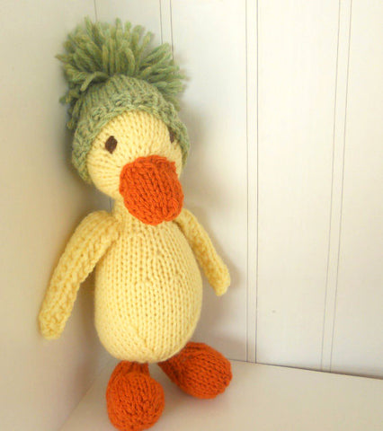 Hand Knit Children's Stuffed Puddles the Duck
