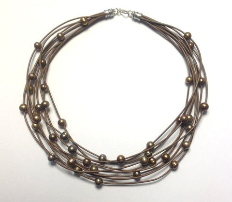 Leather & Pearl Multi-Strand Necklace