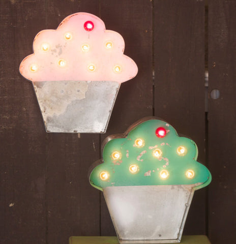 Cupcake Lighted Metal Marquee Sign