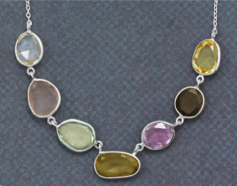Sterling Silver Multicolor Gemstone Necklace