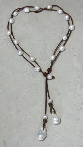 Convertible Pearl & Leather Necklace