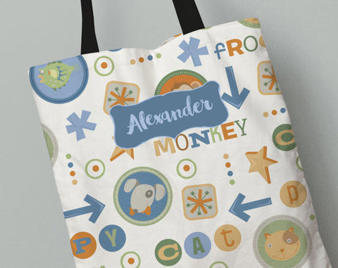 Personalized Kid's Tote Bag Set in Critter Club