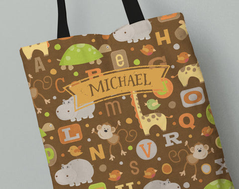 Personalized Kid's Tote Bag Set in Jungle Friends