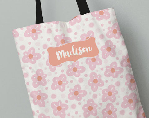 Personalized Kid's Tote Bag Set in Just Pink