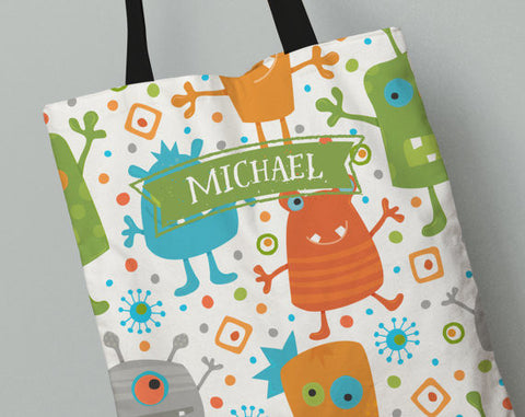 Personalized Kid's Tote Bag Set in Monsters Orange, Green and Blue