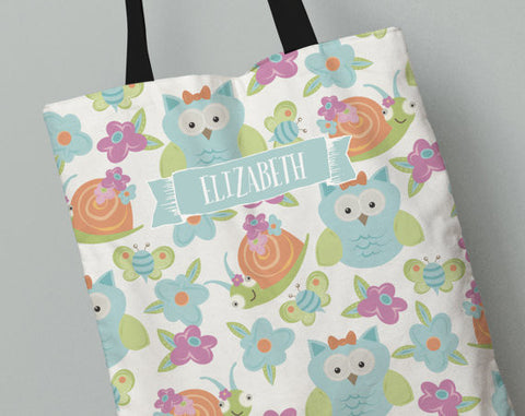 Personalized Kid's Tote Bag Set in Owls and Snails