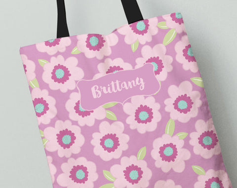 Personalized Kid's Tote Bag Set in Pink Poppies