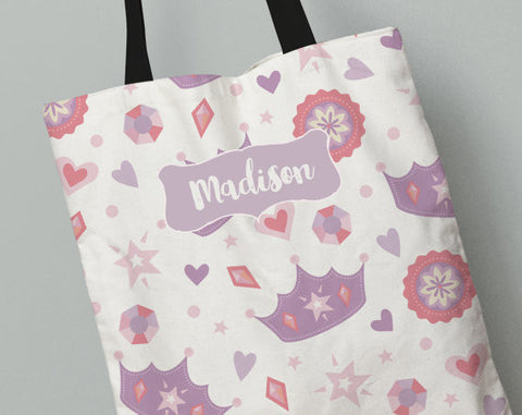 Personalized Kid's Tote Bag Set in Princess Tale