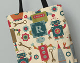 Personalized Kid's Tote Bag Set in Robot City