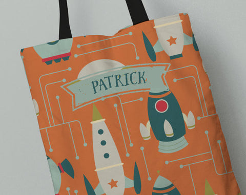 Personalized Kid's Tote Bag Set in Spaceships
