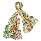 Cashmere, Silk & Wool Scarf in Watercolor Garden