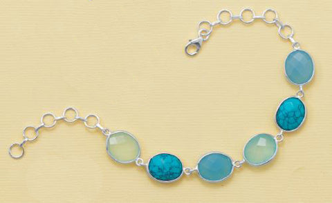 Sterling Silver Chalcedony & Turquoise Link Bracelet