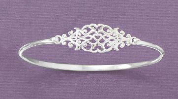Sterling Silver Oval Design Bangle Bracelet