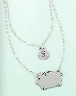 Sterling Silver Layered Piggy Bank Necklace