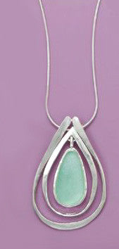 Sterling Silver Ancient Roman Glass Drop Necklace