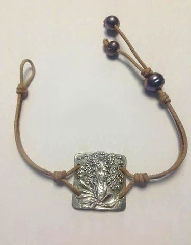 Sterling Silver Mermaid & Pearl Leather Bracelet