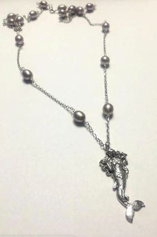 Sterling Silver Hand Sculpted Mermaid & Pearl Necklace