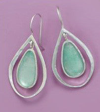Sterling Silver Ancient Roman Glass Cut Out Design Earrings on French Wire